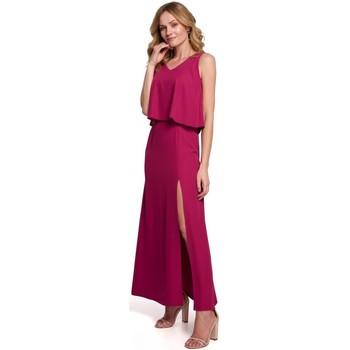 Textiel Dames Lange jurken Makover K048 Maxi jurk met ruche top - pruim
