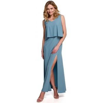 Textiel Dames Jurken Makover K048 Maxi jurk met ruche top - hemelsblauw