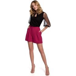 Textiel Dames Korte broeken / Bermuda's Makover K049 Relaxed shorts - pruim