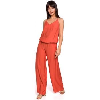 Textiel Dames Jumpsuites / Tuinbroeken Be B155 Jumpsuit met wijde pijpen - oranje