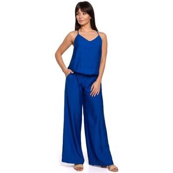 Textiel Dames Jumpsuites / Tuinbroeken Be B155 Jumpsuit met wijde pijpen - koningsblauw