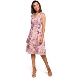 Textiel Dames Korte jurken Style S225 Chiffon jurk met plunjehals - model 3