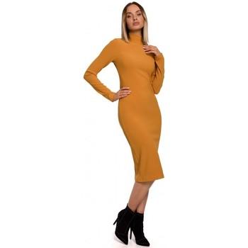 Textiel Dames Lange jurken Moe M542 Gebreide jurk met col - groen