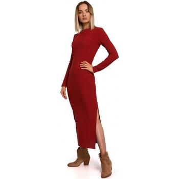 Textiel Dames Lange jurken Moe M544 Maxi jurk met been split - baksteenrood