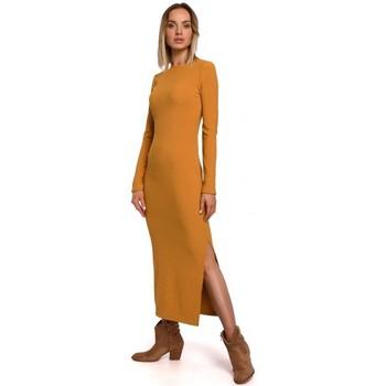 Textiel Dames Lange jurken Moe M544 Maxi jurk met been split - donker geel