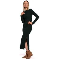 Textiel Dames Lange jurken Moe M544 Maxi jurk met been split - groen