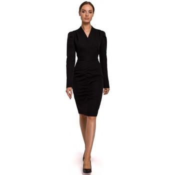 Textiel Dames Korte jurken Moe M547 Positie jurk met geplooide voorkant - zwart