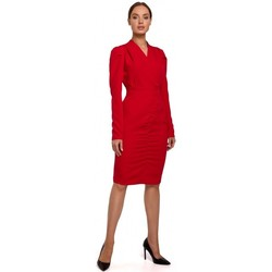 Textiel Dames Korte jurken Moe M547 Gebloemde jurk met geplooide voorkant - rood