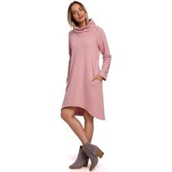 Textiel Dames Korte jurken Moe M551 Gebreide jurk met asymmetrische zoom - poeder
