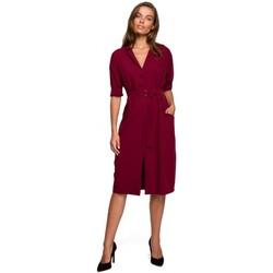Textiel Dames Korte jurken Style S230 Midi overhemdjurk met opgezette zakken - kastanjebruin