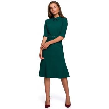 Textiel Dames Korte jurken Style S231 Kraag dres met een gesp riem - groen