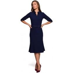 Textiel Dames Korte jurken Style S231 Kraag dres met een gesp riem - marineblauw
