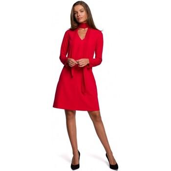 Textiel Dames Korte jurken Style S233 Shift jurk met een chiffon sjaal - rood