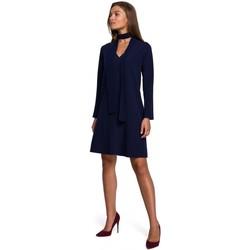 Textiel Dames Korte jurken Style S233 Shiftjurk met chiffonsjaal - marineblauw