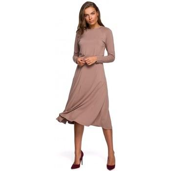 Textiel Dames Lange jurken Style S234 Rechthoekige jurk - cappuccino