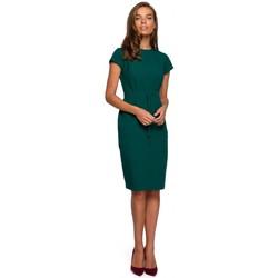 Textiel Dames Korte jurken Style S239 Kokerjurk met ceintuur - marineblauw