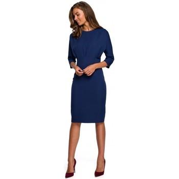 Textiel Dames Korte jurken Style S242 Jurk met vleermuismouwen - marineblauw