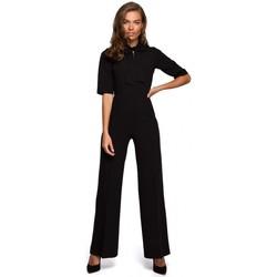Textiel Dames Jumpsuites / Tuinbroeken Style S243 Elegante jumpsuit met een strikceintuur - zwart