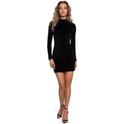 Textiel Dames Korte jurken Moe M558 Fluwelen Turtleneck Mini Dress - zwart
