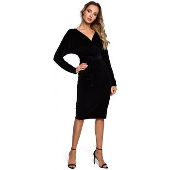Textiel Dames Korte jurken Moe M561 Fluwelen Wrap Top Jurk - zwart