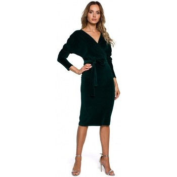 Textiel Dames Korte jurken Moe M561 Fluwelen Wrap Top Jurk - groen