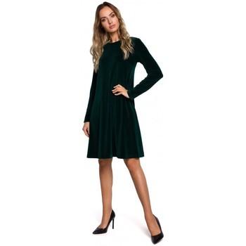Textiel Dames Korte jurken Moe M566 Fluwelen Relaxed Fit Jurk - marineblauw