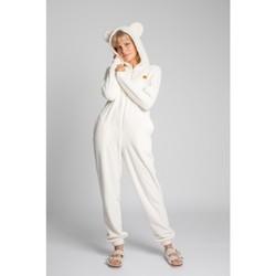 Textiel Dames Jumpsuites / Tuinbroeken Lalupa LA006 Fluffy Knit Onepiece Onesie - ecru