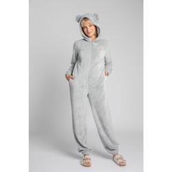 Textiel Dames Jumpsuites / Tuinbroeken Lalupa LA006 Fluffy Knit Onepiece Onesie - lichtgrijs