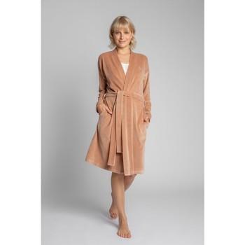 Textiel Dames Pyjama's / nachthemden Lalupa LA009 Fluwelen badjas met een strikceintuur - beige