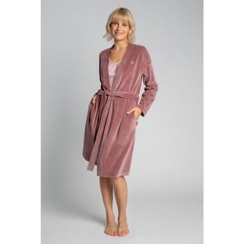 Textiel Dames Pyjama's / nachthemden Lalupa LA009 Fluwelen badjas met een strik ceintuur - crêpe roze