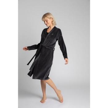 Textiel Dames Pyjama's / nachthemden Lalupa LA009 Fluwelen badjas met een strikceintuur - grafiet