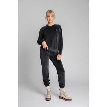 Textiel Dames Sweaters / Sweatshirts Lalupa LA011 Fluwelen Reglan mouw Pullover Top - grafiet