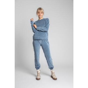 Textiel Dames Sweaters / Sweatshirts Lalupa LA011 Fluwelen Reglan mouw Pullover Top - blauw