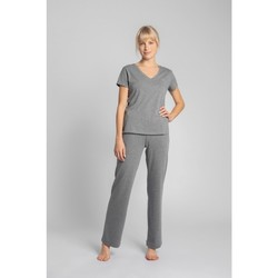 Textiel Dames T-shirts korte mouwen Lalupa LA014 Katoenen V-hals top - grijs
