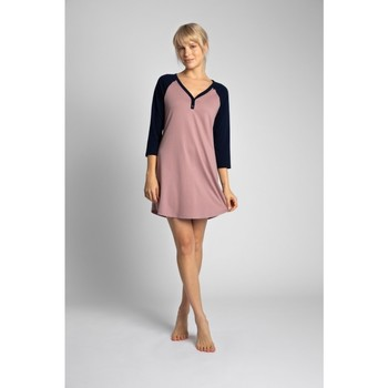 Textiel Dames Korte jurken Lalupa LA018 Katoenen Colourblock Sleepshirt - marineblauw