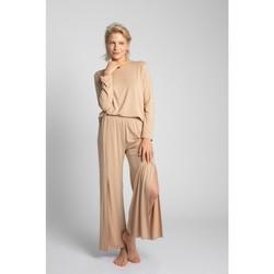 Textiel Dames Pyjama's / nachthemden Lalupa LA026 Viscose Broek Met Hoge Splitten - cappuccino