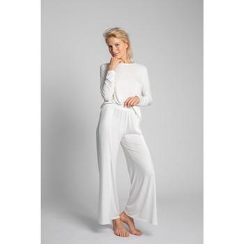 Textiel Dames Pyjama's / nachthemden Lalupa LA026 Viscose Broek Met Hoge Splitten - ecru