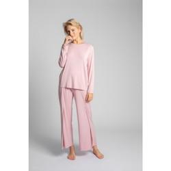 Textiel Dames Tops / Blousjes Lalupa LA027 Viscose longsleeve met open rug - roze