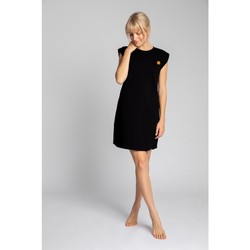 Textiel Dames Korte jurken Lalupa LA033 Geribd katoenen Loungewear Jurk - zwart