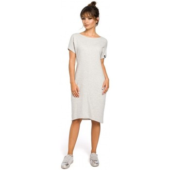 Textiel Dames Jurken Be B050 Midi-jurk met insteekzakken - lichtgrijs