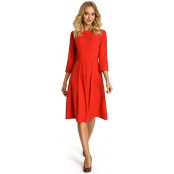 Textiel Dames Korte jurken Moe M335 Jurk met plooi aan de voorzijde - rood