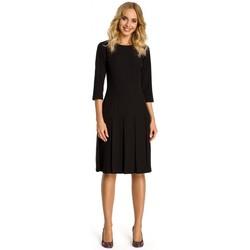 Textiel Dames Korte jurken Moe M336 Drop waist jurk met plooien - zwart