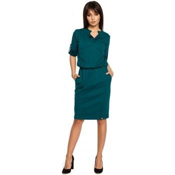 Textiel Dames Korte jurken Be B056 Gebreide jurk in hemdmodel - groen