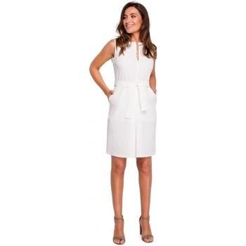 Textiel Dames Korte jurken Style S158 Sheath mouwloze jurk met plooi vooraan - ecru