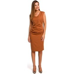 Textiel Dames Korte jurken Style S174 Mouwloze jurk met geplooide voorkant - gember