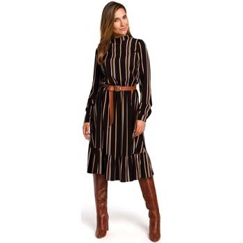 Textiel Dames Korte jurken Style S182 Gestreepte jurk met riempje met gesp - model 1