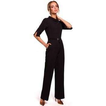 Textiel Dames Jumpsuites / Tuinbroeken Moe M463 Jumpsuij met opstaande kraag - zwart