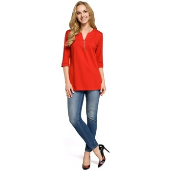 Textiel Dames Tops / Blousjes Moe M278 Tuniekblouse met rits - rood