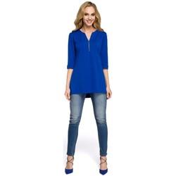 Textiel Dames Tops / Blousjes Moe M278 Tuniekblouse met rits - koningsblauw