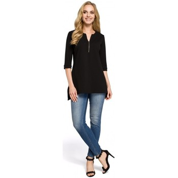 Textiel Dames Overhemden Moe M278 Tuniekblouse met rits - zwart